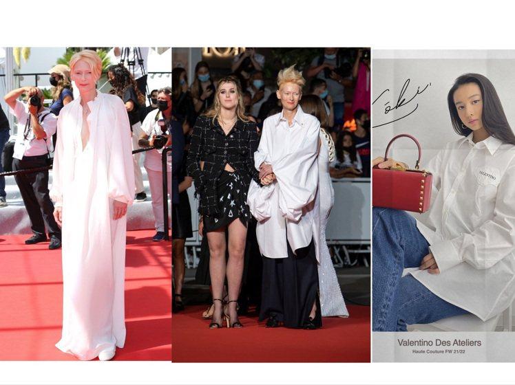空靈清新的白襯衫,是時尚仙人蒂妲史雲頓、木村光希都愛的單品。圖/達志影像、取自I...