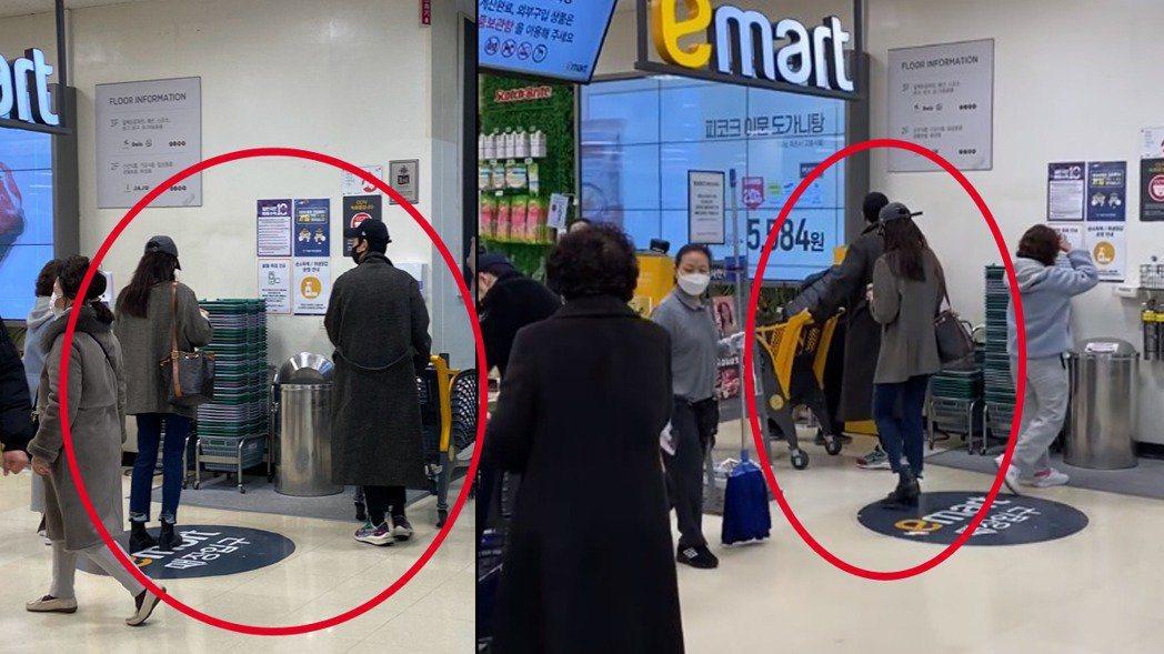 鄭敬淏與秀英逛超市被網友偶遇。圖/擷自微博
