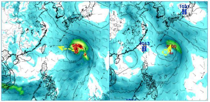 美國(GFS)模式模擬周日20時,熱帶擾動已有颱風強度,在日本琉球東南方海面,至22日20時路徑(黃虛線)較原模擬大幅往西調整,朝台灣東北方海面接近(左圖)。而歐洲(ECMWF)模式同時的模擬,強度較弱、發展也較慢,在琉球東南方海面滯留打轉,緩慢偏北移動(右圖)。圖擷自tropical tidbits。圖/取自「三立準氣象.老大洩天機」專欄