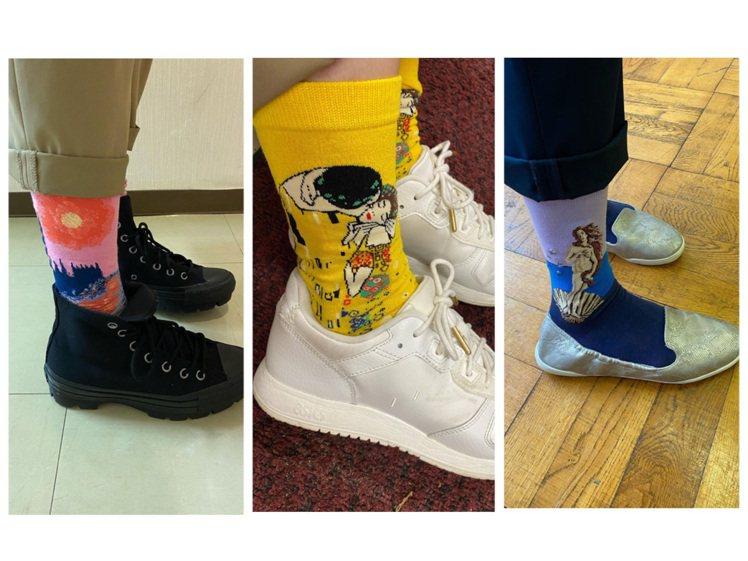 鈴木保奈美近期演出日劇《家裡蹲老師》,常po出主角磯崎藍子的襪子造型。圖/皆取自...