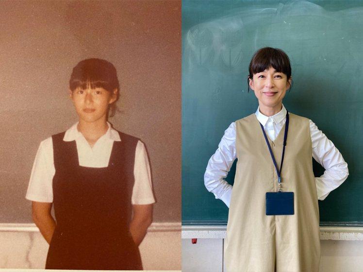 鈴木保奈美在IG放了同個地點拍攝的35年前後照片,相當俏皮。圖/取自IG