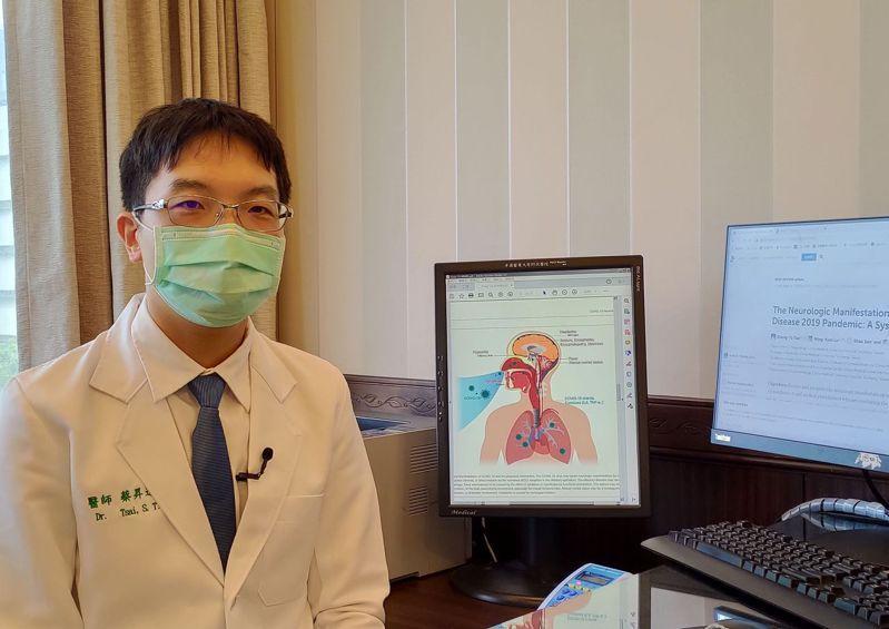 醫師蔡昇達說,英國研究證實,新冠肺炎患者住院中靜脈血栓機率為百萬分之3萬,風險遠高於施打疫苗引起腦部靜脈血栓的百萬分之 14.7。圖/中國醫藥大學附設醫院提供