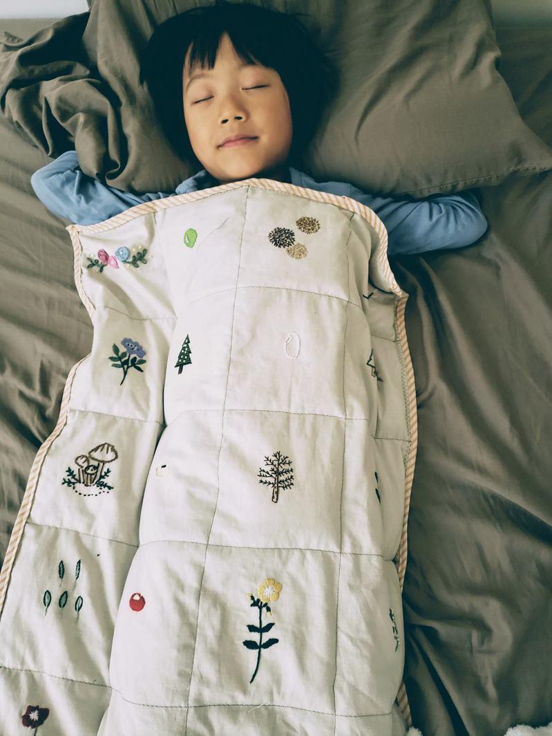 重量毯內的塑膠粒均勻分布產生的深層觸壓,帶來仿如母親孕育的溫暖感和安定心情的擁抱感。圖/讀者提供