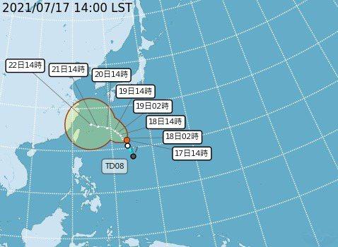 烟花颱風下周二起接近台灣。圖/氣象局