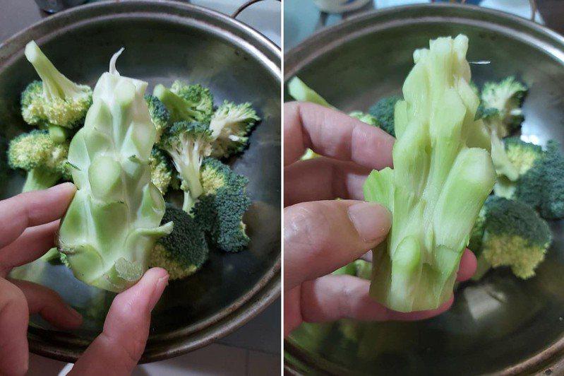一名女網友分享將花椰菜心去絲、切塊,然後跟花椰菜一起炒就會變得很好吃。 圖/翻攝自臉書「家常菜」