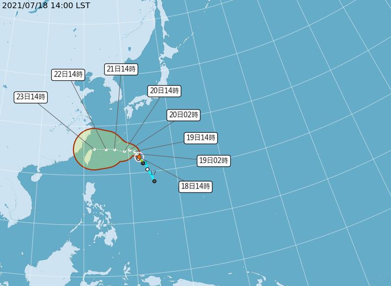 烟花颱風路徑潛勢預報。圖/取自氣象局官網