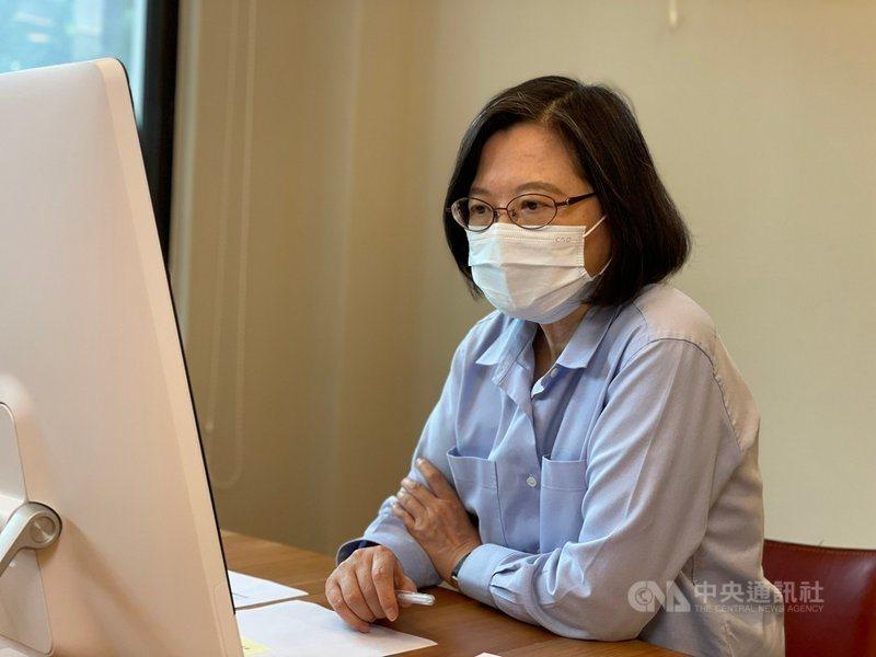 總統蔡英文5月13日說,為支持國產疫苗,她要等到國產疫苗上市才接種疫苗。(中央社)