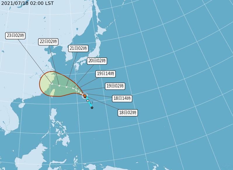 烟花颱風路徑潛勢預測。圖/取自氣象局網站