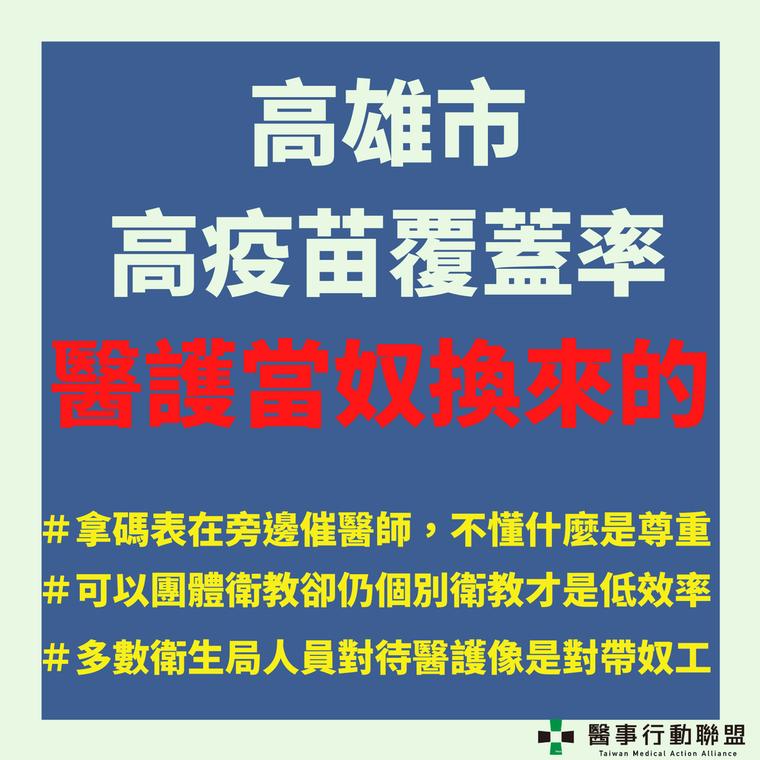 台灣醫事行動聯盟批「高雄市高疫苗覆蓋率是醫護當奴換來的!」背後是許多醫護的心酸。...