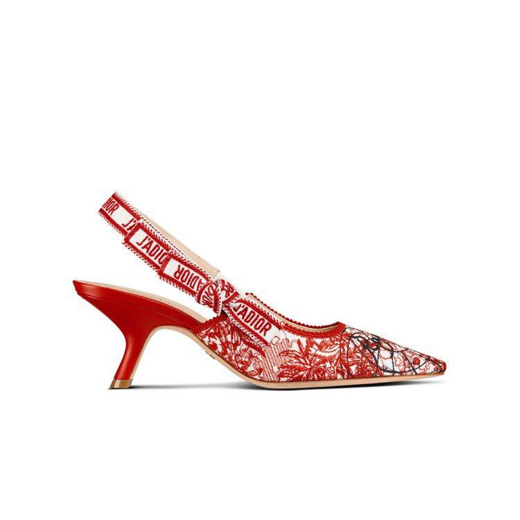 J'Adior Dioramour印花刺繡緞帶露跟鞋,35,000元。圖/DIO...
