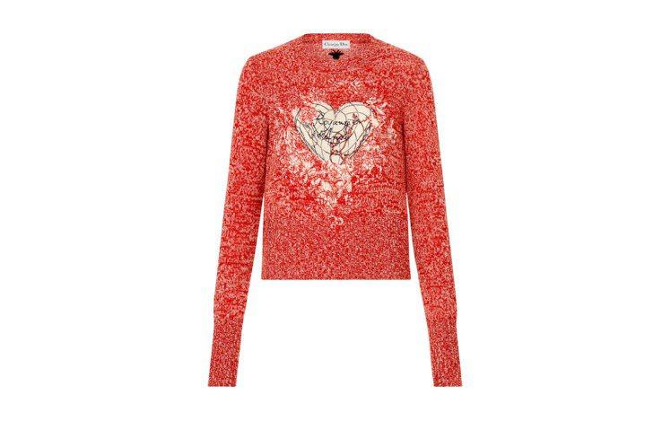 Dioramour印花紅色針織上衣,68,000元。圖/DIOR提供