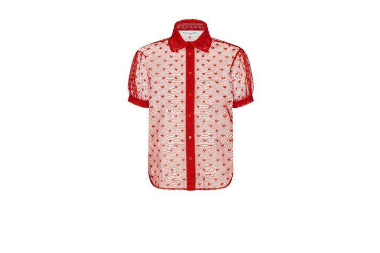 紅色愛心短袖網狀襯衫,55,000元。圖/DIOR提供