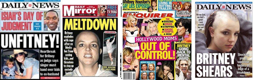 惡女、失職母親、瘋女人......,那些年大眾媒體為小甜甜布蘭妮貼上了各種「不乖」的負面標籤。 圖/報章雜誌封面組圖
