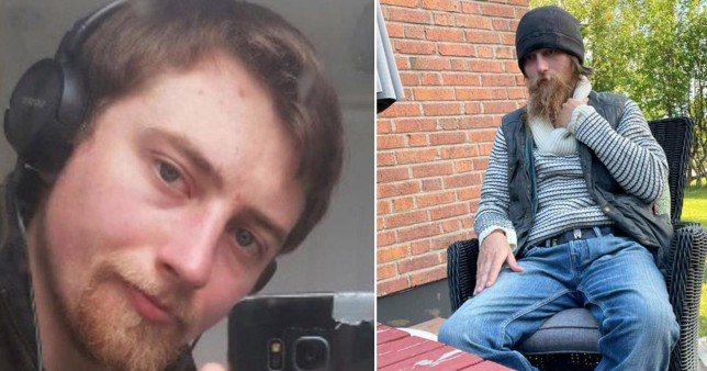 英國26歲男子失蹤時警方公布的照片(圖左)及在瑞典最北方城尋獲時的照片(圖右)。圖/取自metro