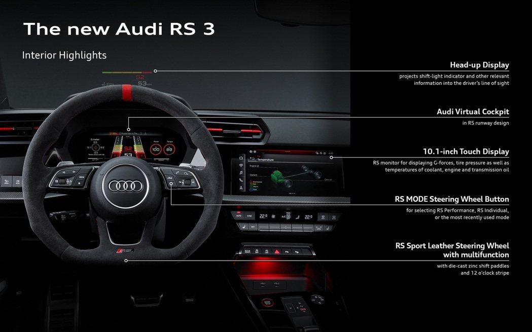 12.3吋奧迪虛座艙plus有更多樣化的儀表設定,以及賽車超轉燈號的顯示。 摘自...