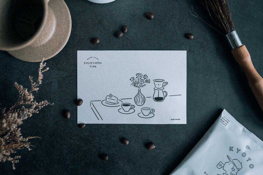 WHOSMiNG的咖啡療癒時光明信片,將搭配聯名咖啡同步上市。 圖/WHOS...