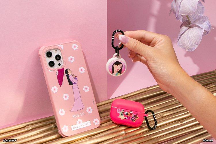 除了手機殼,同步推出印有公主特色圖樣的AirPods保護殼及客製化AirTag掛...