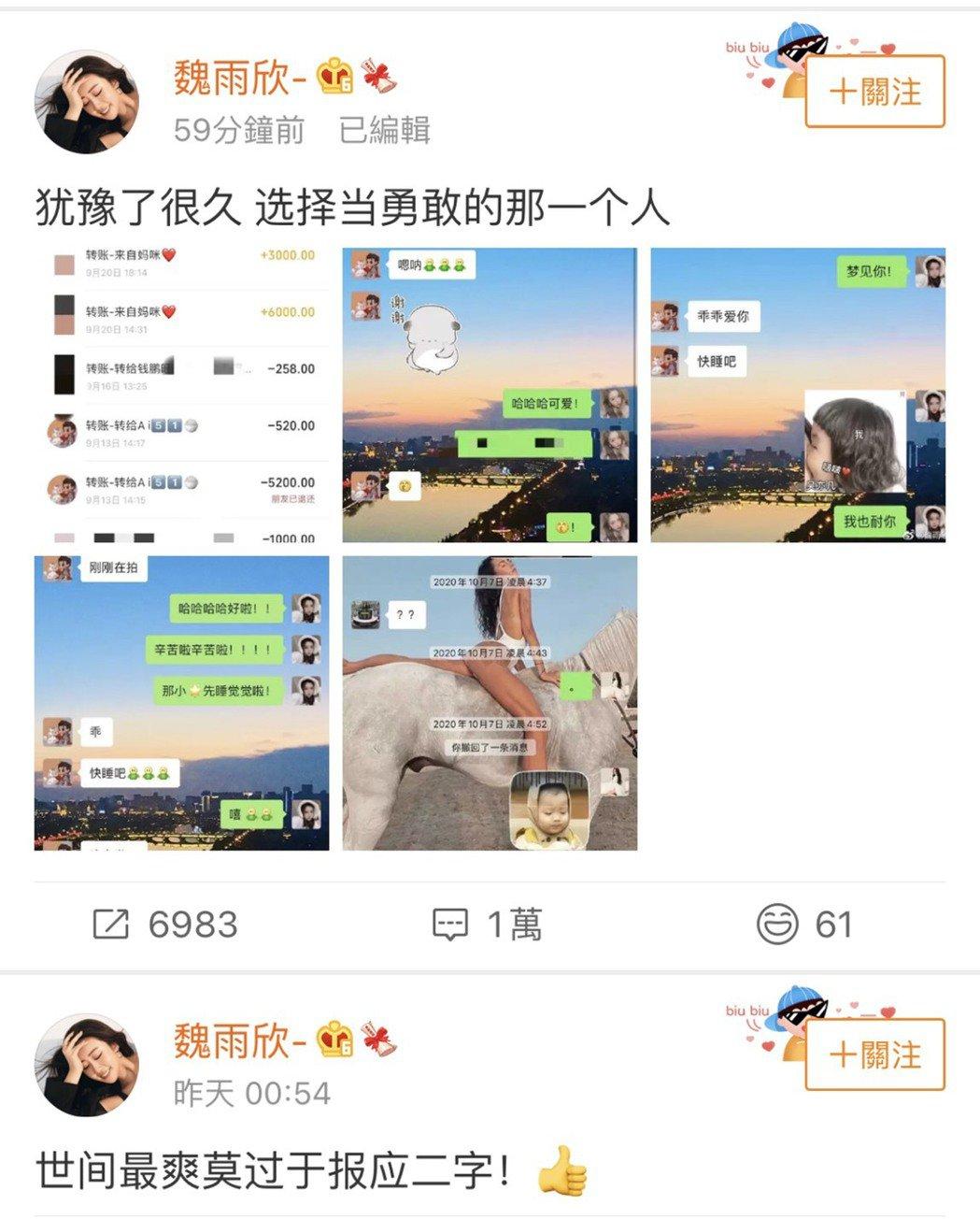 魏雨欣曬了和吳亦凡的聊天紀錄。圖/摘自微博