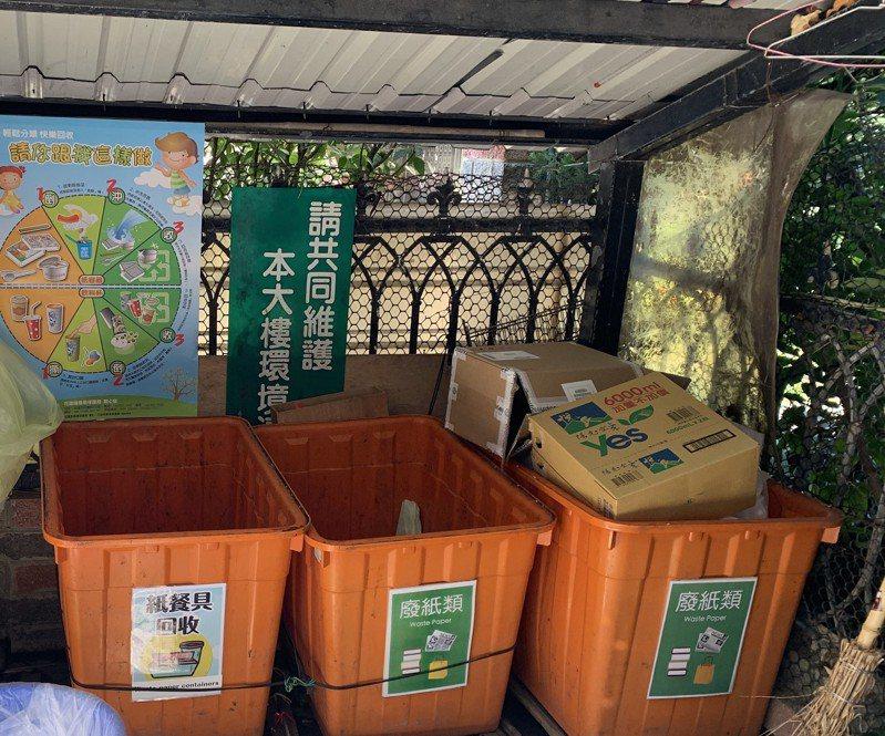 花蓮縣環保局輔導社區大樓設置回收站,做好資源回收。圖/花蓮縣環保局提供