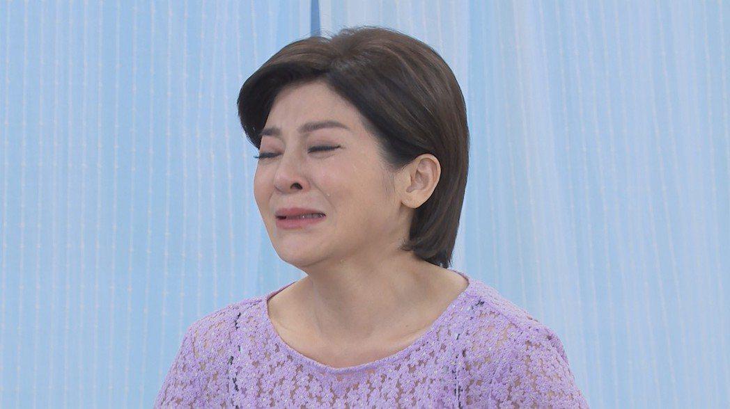 王彩樺在戲中憂心女兒下落,眼淚如水龍頭。圖/民視提供