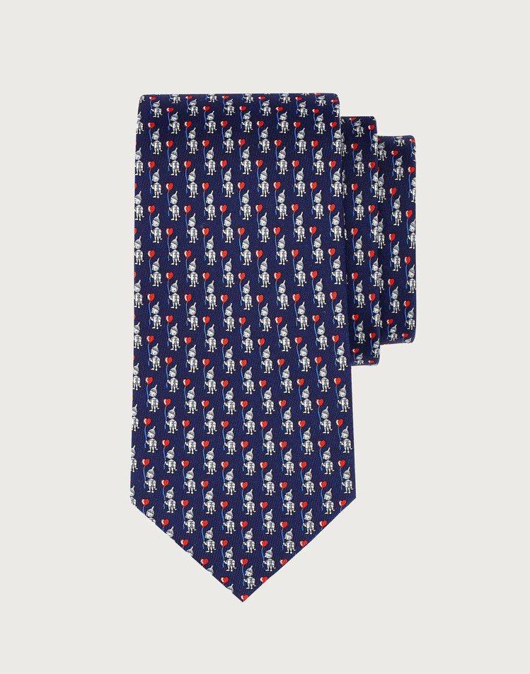 藍色愛心造型緹花領帶,7,200元。圖/Salvatore Ferragamo提...