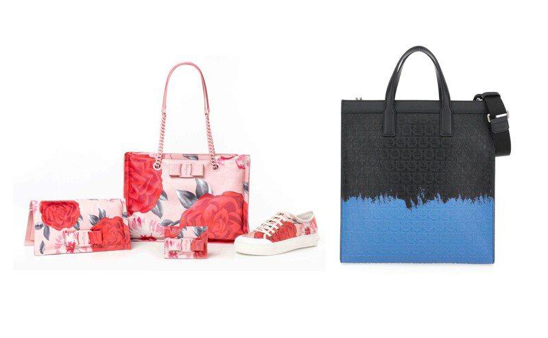 義大利時尚品牌Salvatore Ferragamo針對男女戀人推出不同花色的單品,運用粉嫩色玫瑰和牛仔藍紮染效果印花,呈現各具風格的設計巧思。圖/Salvatore Ferragamo提供