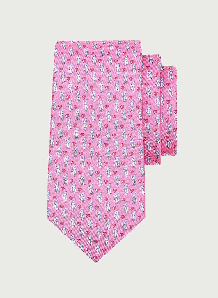 粉色愛心造型緹花領帶,7,200元。圖/Salvatore Ferragamo提...