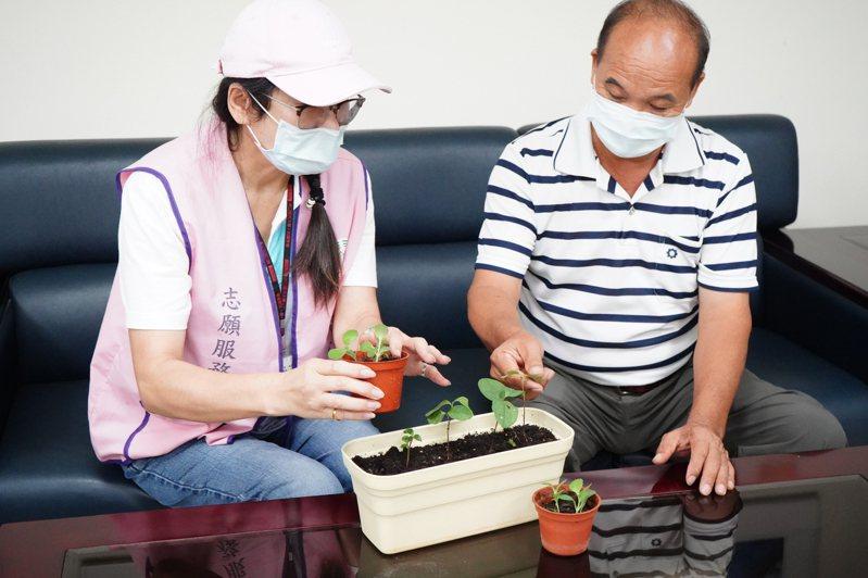新北市林口麗園里長黃添福(右)與志工討論給長輩適合的植栽。圖/林口區公所提供