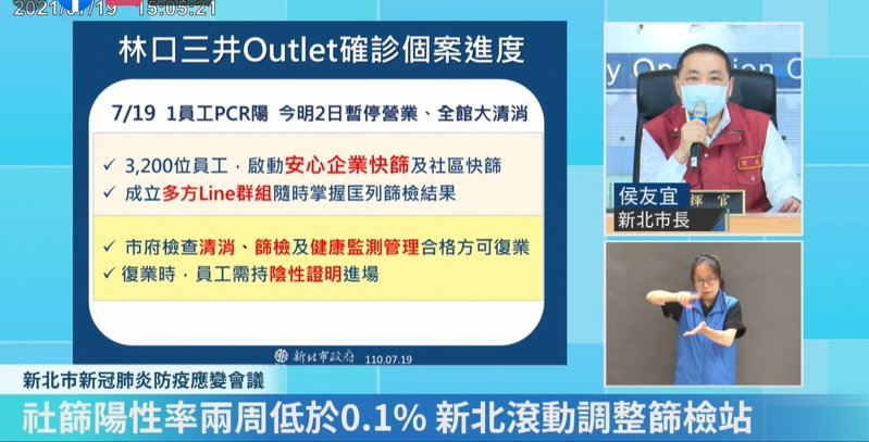 新北市長侯友宜表示,林口三井個案確診後已啟動相關措施。圖/取自侯友宜臉書