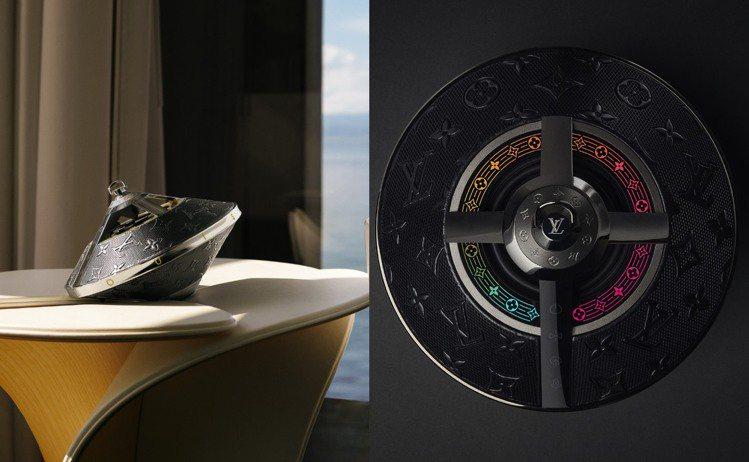 路易威登推出飛碟外型的Horizon Light Up揚聲器。圖/路易威登提供