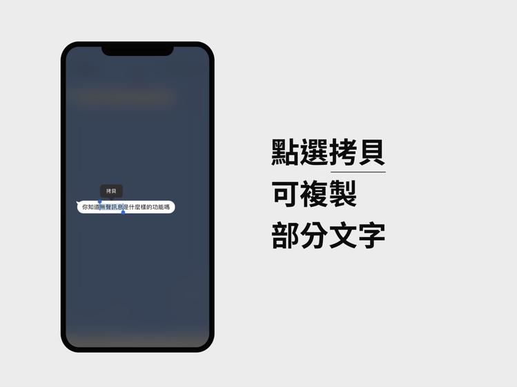 行動版的複製功能新增支援複製部分文字。圖/摘自LINE台灣官方部落格
