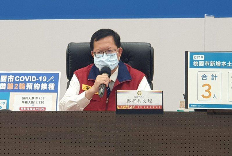 桃園市長鄭文燦說明桃園新增本土3例及1例境外確診案。圖/市政府提供