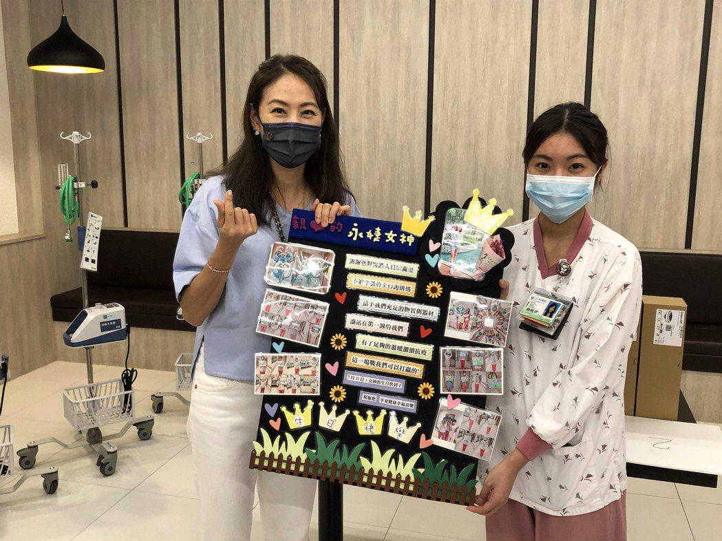 賈永婕贈五醫院急救防護設備、鐵粉醫護送蛋糕與自製海報慶生。記者周宗禎/攝影