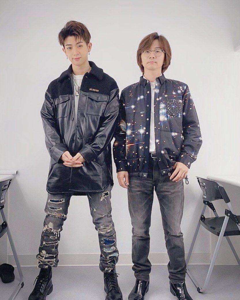 林亭翰(左)日前低調替爸爸林隆璇慶生。圖/青田音樂提供