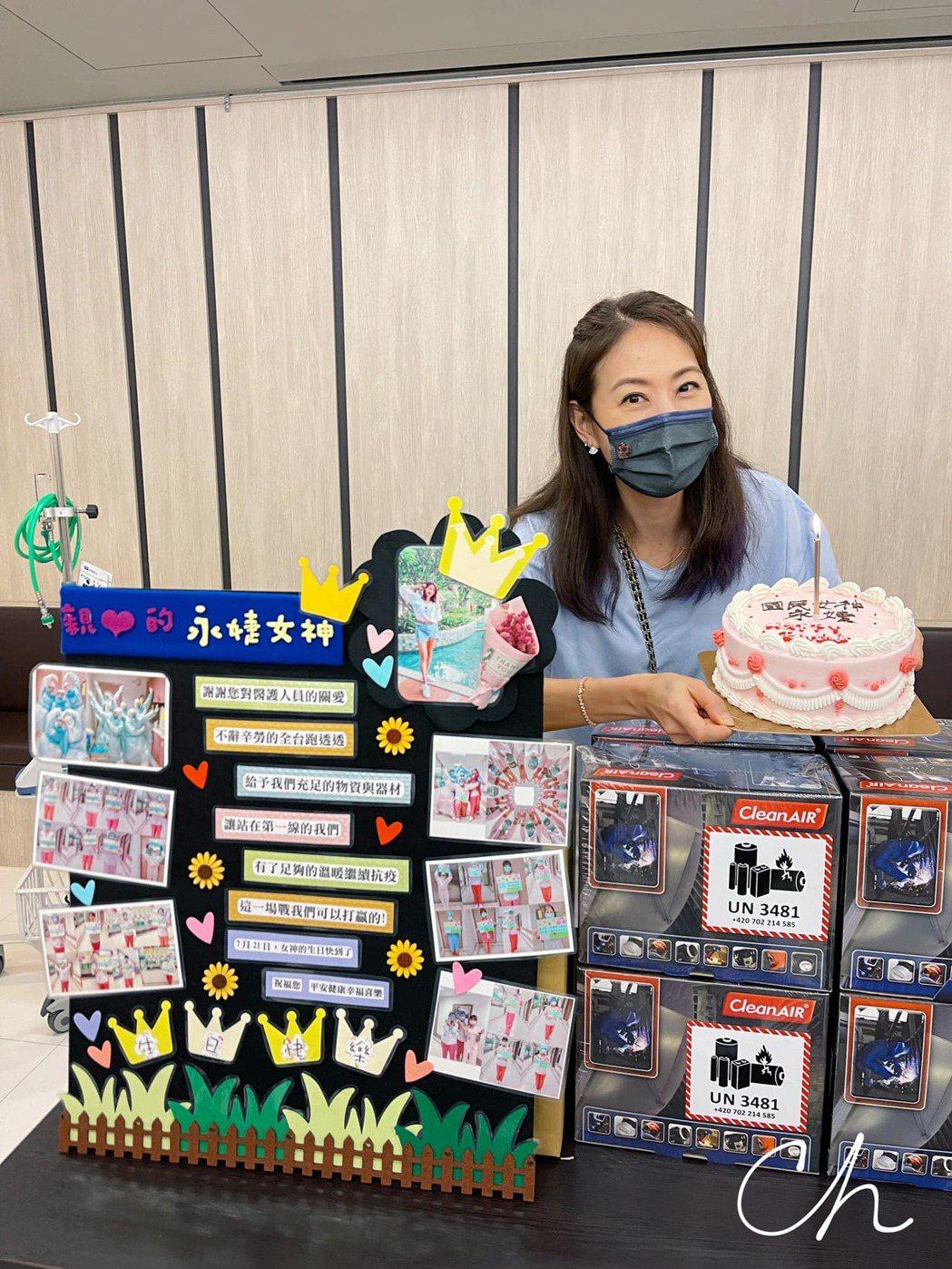 賈永婕到台南捐贈醫療物資。 圖/擷自賈永婕臉書