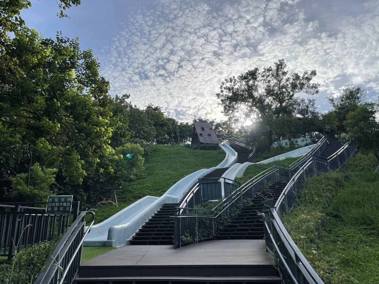 青青草原擁有北台灣最長磨石子溜滑梯。 圖/張裕珍 攝影