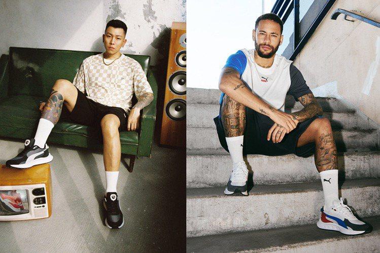 瘦子E.SO與「巴西國腳」內馬爾,兩人分別穿了同款不同配色新鞋,擺拍出各自特色帥...