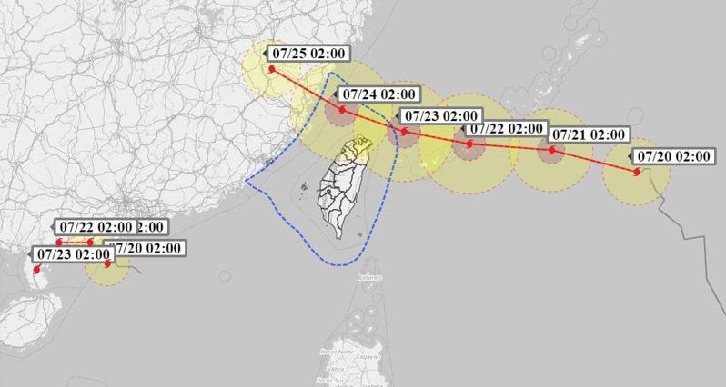 周四颱風將逐漸接近台灣東北部海面。圖/取自氣象達人彭啟明臉書