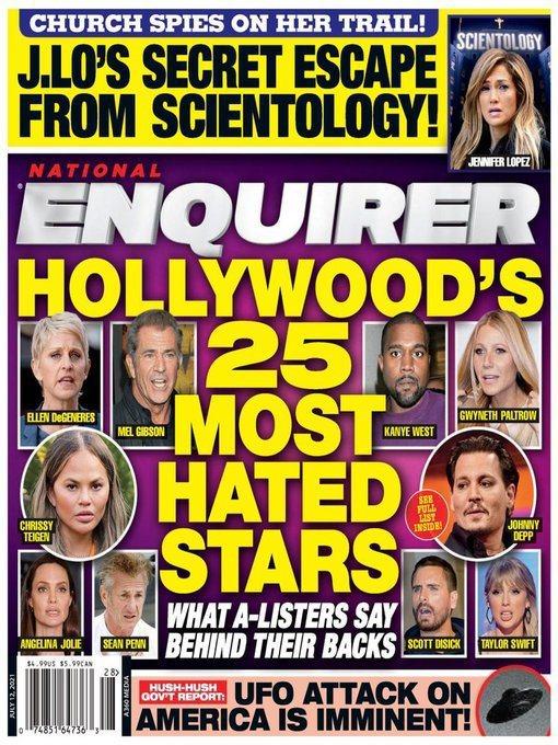 包括安琪莉娜裘莉、強尼戴普等好萊塢藝人被點名為「大家最討厭」。圖/摘自Natio