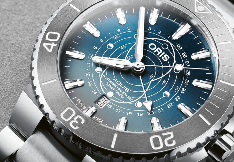 Dat Watt限量潛水腕表具備月相周期與潮汐指示功能,可推算每個月的月相變化周...
