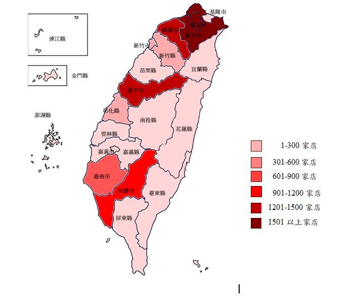 全台超商分布及縣市密度。圖/公平會提供