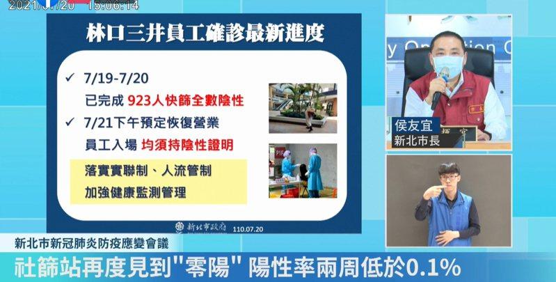 侯友宜表示,林口三井全體員工明天就會篩檢完,預計下午恢復營業。圖/取自侯友宜臉書