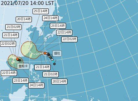 今天下午2時,烟花颱風還是輕度颱風。圖/氣象局