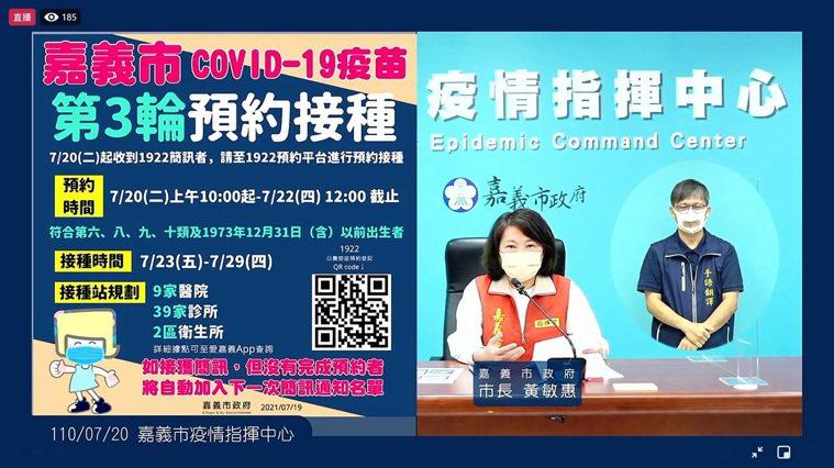 嘉義市長黃敏惠表示公費疫苗預約平台第3輪結算,中央宣布可開放48歲以上,籲接到簡...