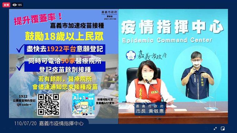 嘉義市長黃敏惠籲18歲以上都先去公費疫苗預約平台填意願,並可至50間合約醫療院所...