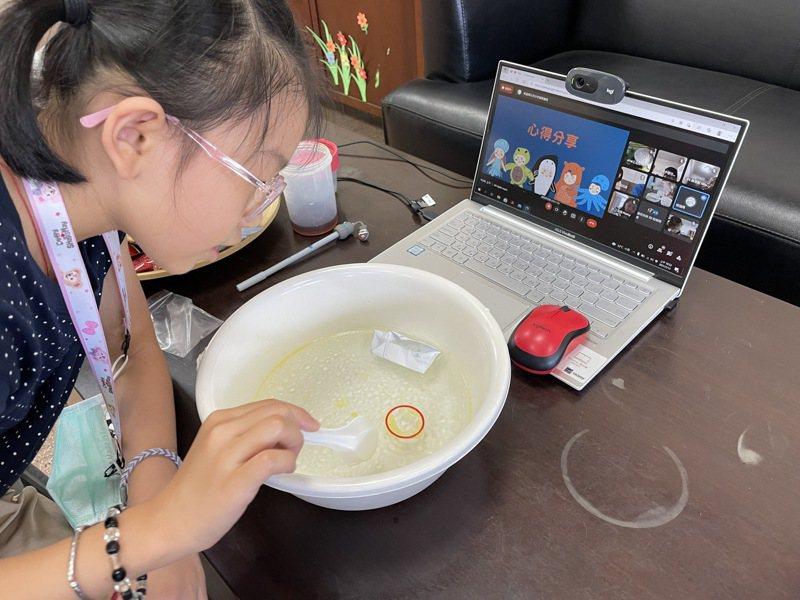 嘉義高商學生蔡巧如每年寒暑假辦英語和科學營隊,今年暑假主題「氣候變遷營」,並首度線上辦理。圖/精忠國小提供