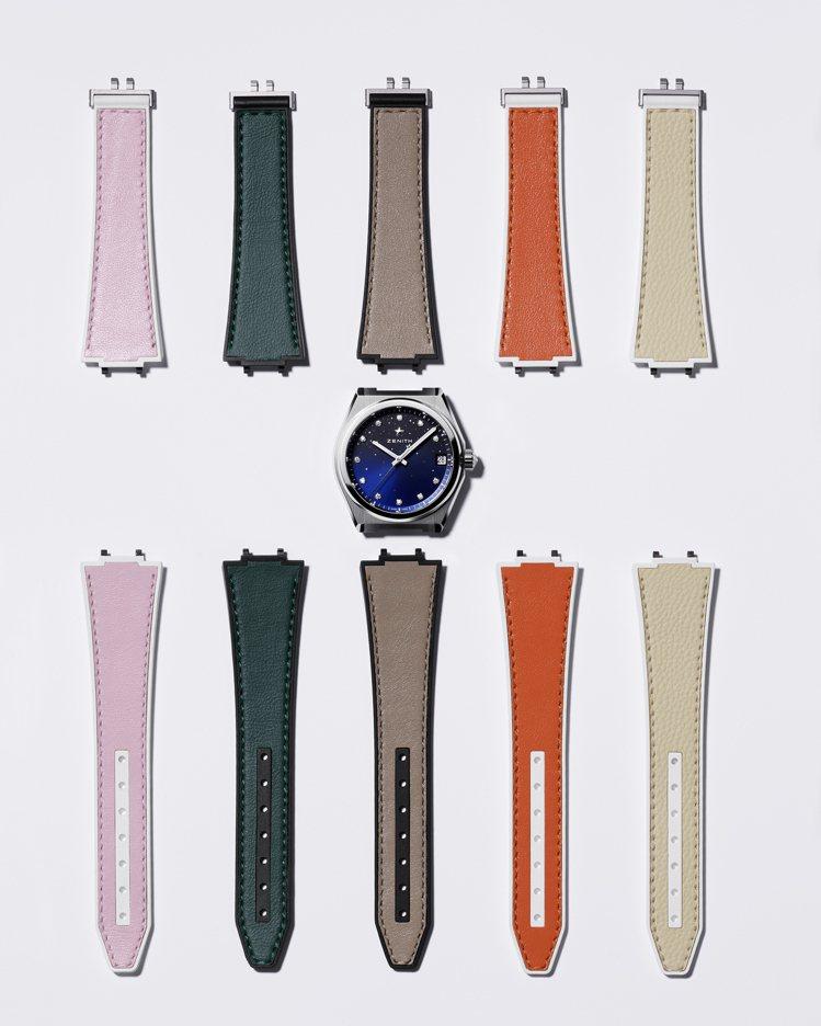 DEFY Midnight女士腕表推出更多不同顏色和材質的新款可換式表帶。圖/真...