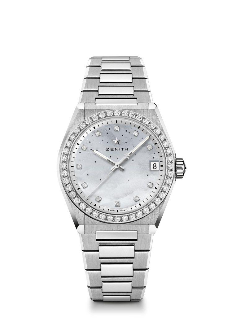 真力時DEFY Midnight女士腕表,鑲鑽款,35萬300元。圖/真力時提供