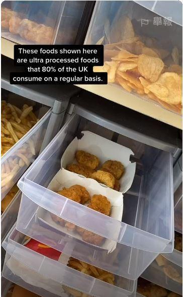 英國一位營養師,將36種速食放置常溫下2年,實驗會發生什麼事情。圖擷自elifgkandemir TikTok