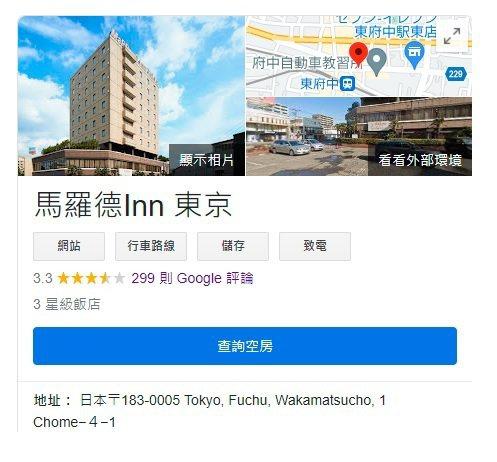 戴資穎下榻旅店一度被台灣網友洗評價成4.9星,不過很快被Google「校正回歸」為3.3星。 截圖自google